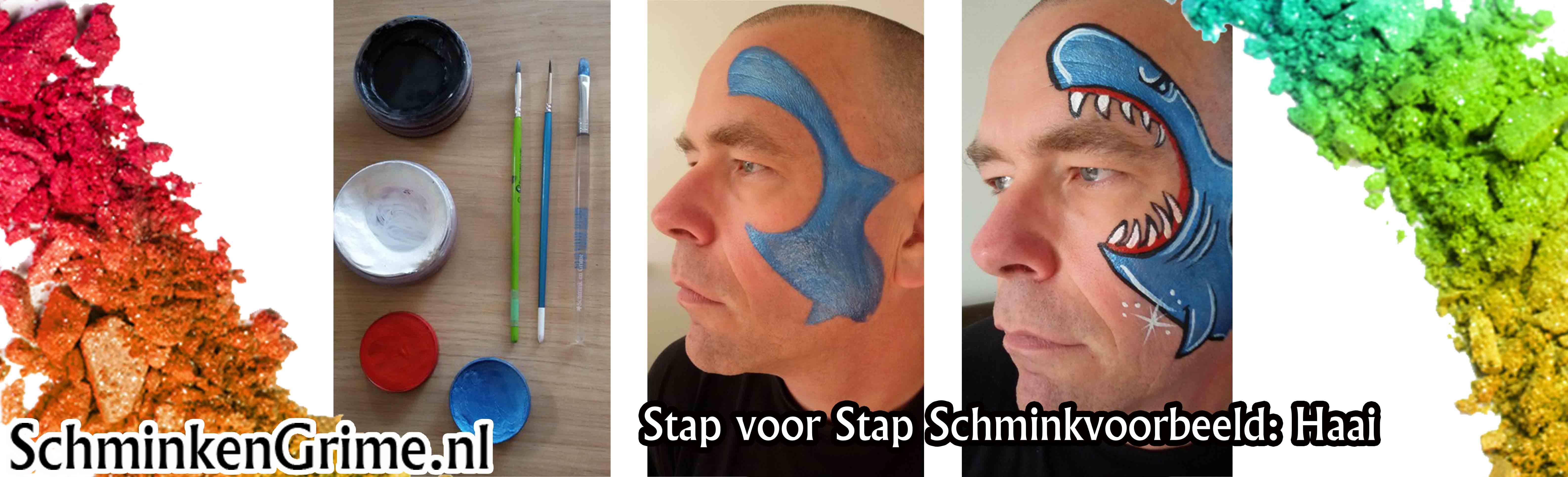 Uitzonderlijk SchminkenGrime.nl | Stap voor stap schminkvoorbeeld: Haai #BQ19