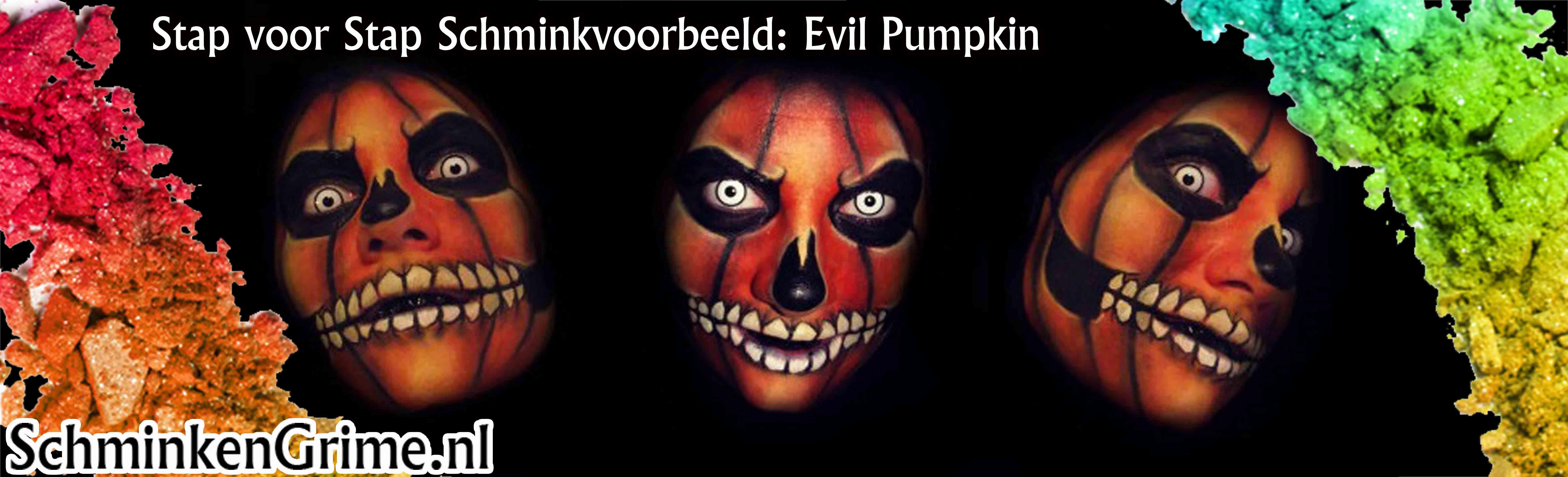 Schminkvoorbeeld evil pumpkin for Koivijver bouwen stap voor stap