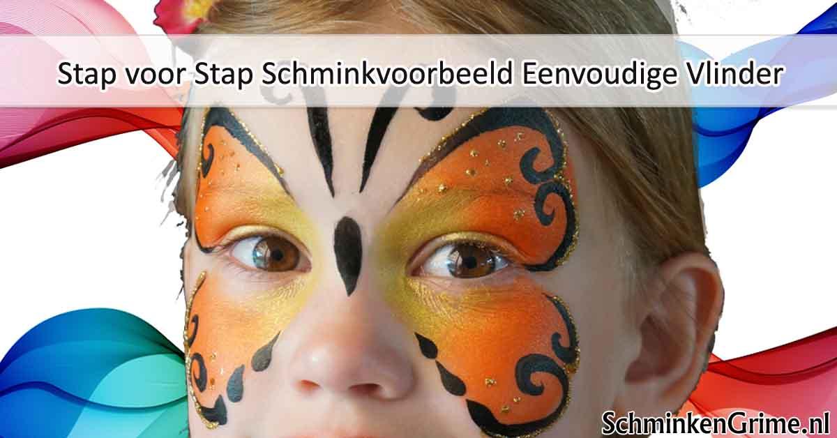 Wonderlijk SchminkenGrime.nl | Stap voor Stap Schminkvoorbeeld Eenvoudige Vlinder PC-13