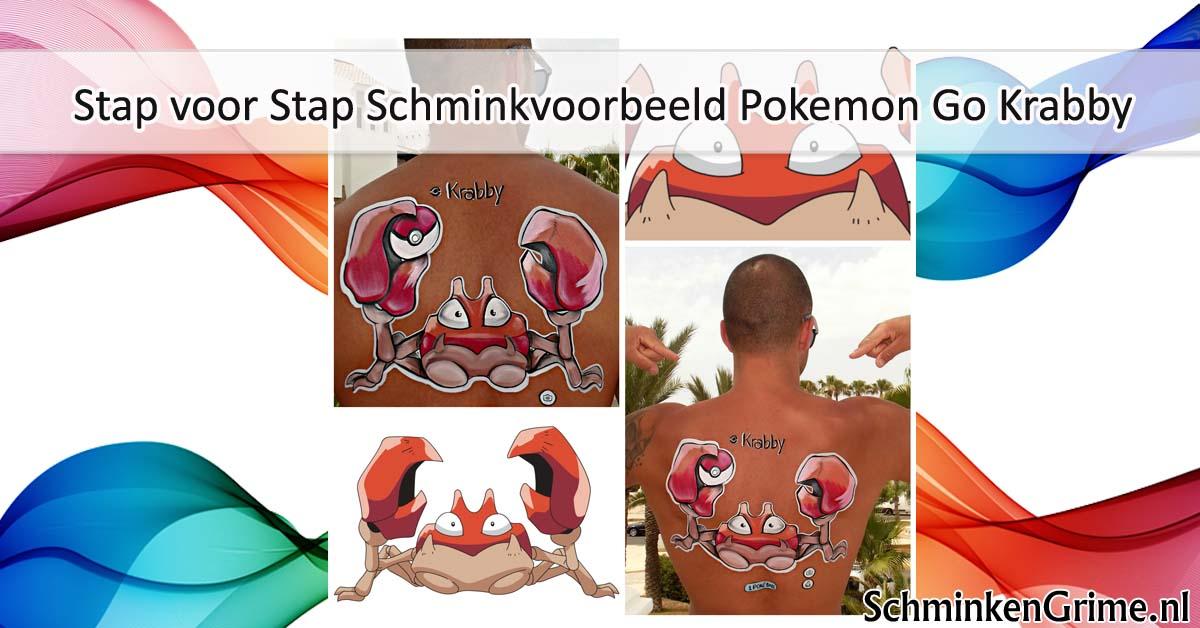 Stap voor Stap Schminkvoorbeeld Pokemon Go Krabby