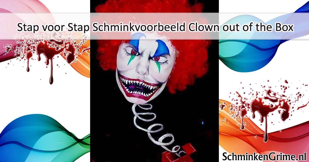Stap voor Stap Schminkvoorbeeld Clown out of the Box