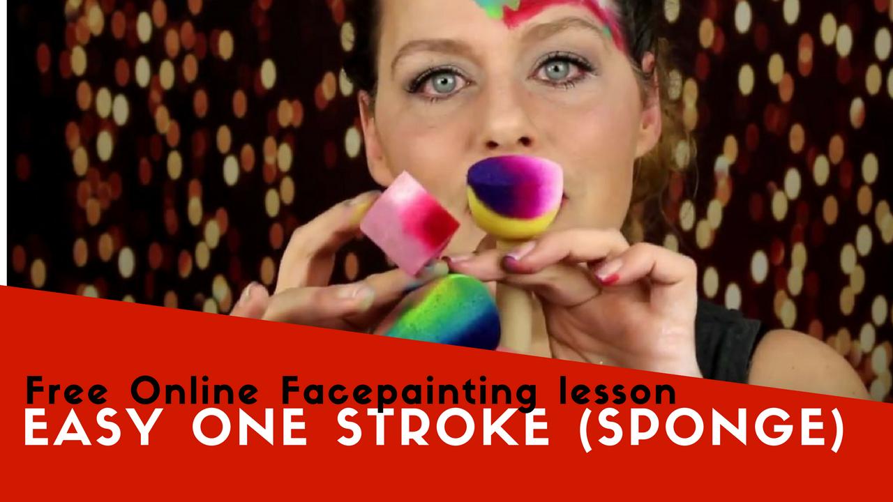 Free Online Facepainting lesson 10 Easy one stroke (sponge)