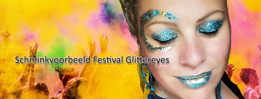 Schminkvoorbeeld Festival Glittereyes