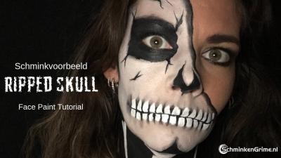 Schminkvoorbeeld Ripped Skull